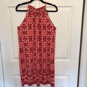 London Times Spaghetti Strap Coral Print Dress 10